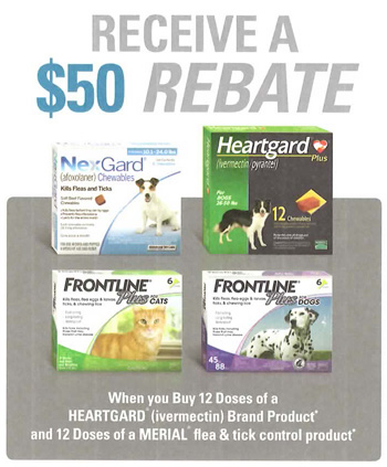 $50 rebate offered only by your veterinarian