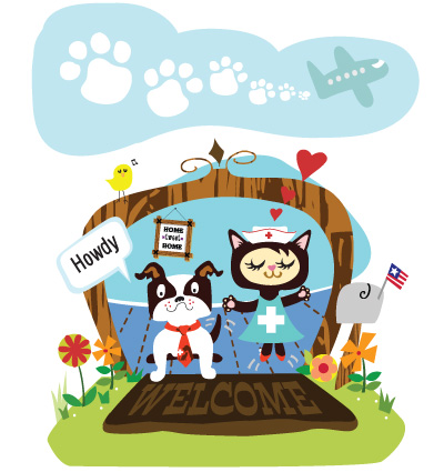 Illustration of cute pets standing on a welcome mat jumping for joy