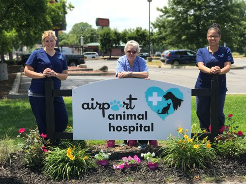 Team members and colorful spring flowers adorn the new sign at Airport Animal Hospital on Byrne and Airport Highway in Toledo.